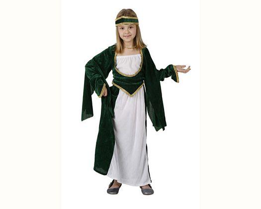 Disfraz de princesa medieval verde, Talla 3 (7 – 9 años)