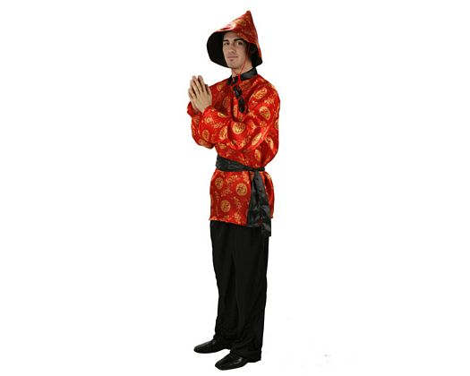 Disfraz de chino rojo, adulto
