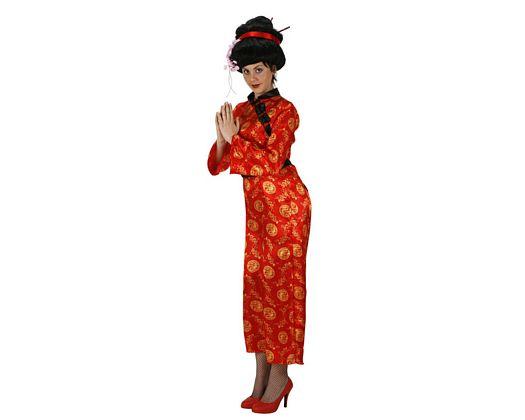 Disfraz de china rojo, Talla 2 (M-L)