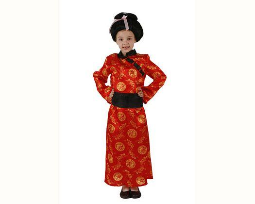 Disfraz de china rojo, Talla 3 (7 – 9 años)