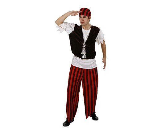 Disfraz de pirata rayas, adulto