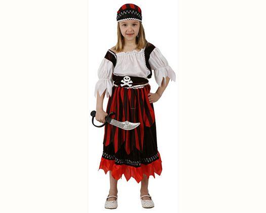 Disfraz de pirata rayas niña, Talla 3 (7 – 9 años)