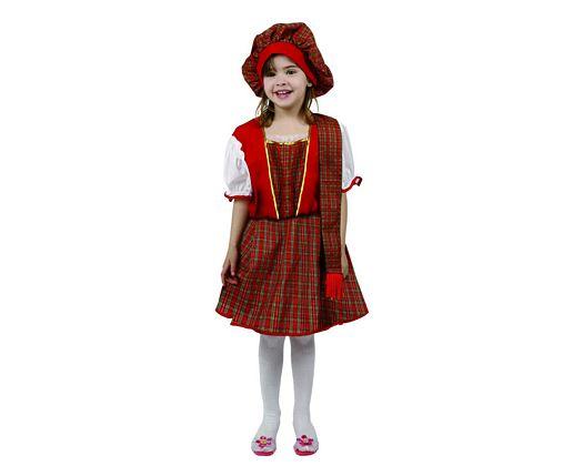 Disfraz de escocesa rojo, 3-4 años