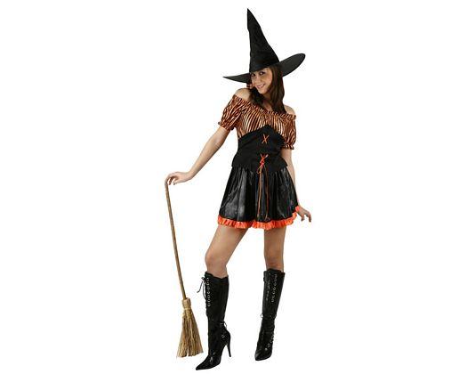Disfraz de bruja rayas naranja negro, adulto