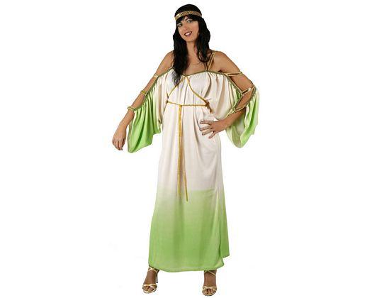 Disfraz de diosa griega verde blanco, adulto