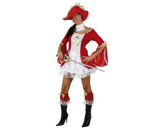 Disfraz de mosquetera rojo sexy, adulto