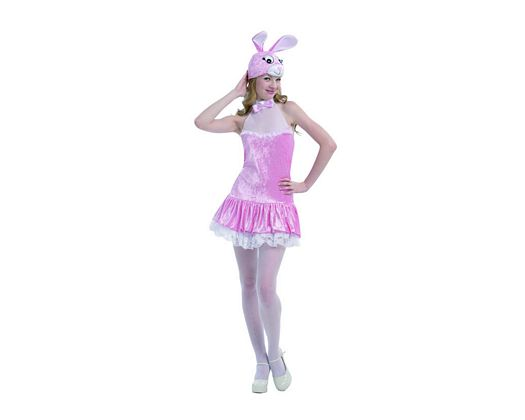 Disfraz de conejita sexy rosa, adulto