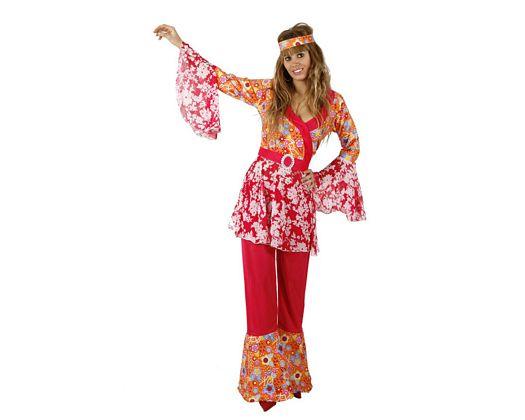 Disfraz de chica hippie estampado floral, adulto