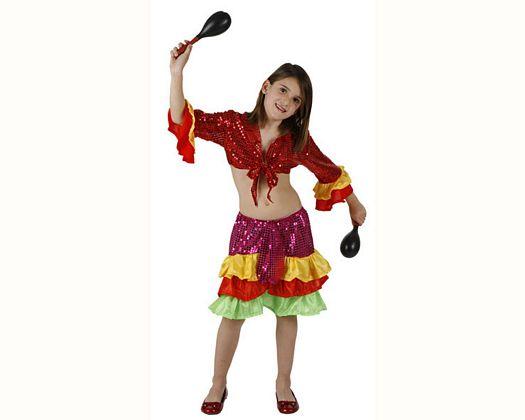 Disfraz de rumbera multicolor, Talla 2 (5 – 6 años)