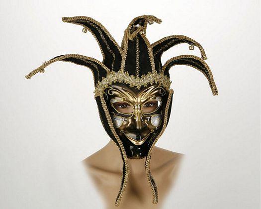 Mascara veneciana arlequin negro