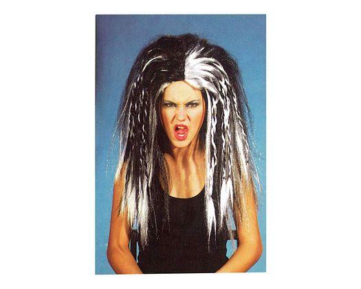 Pvc peluca moderna larga blanca negra