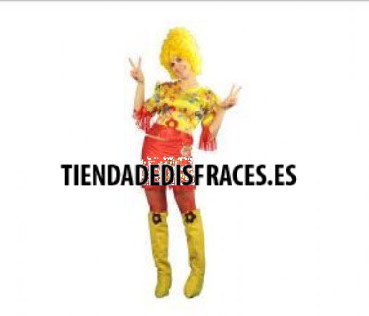 Disfraz de Hippie Mujer amarilla Adulto
