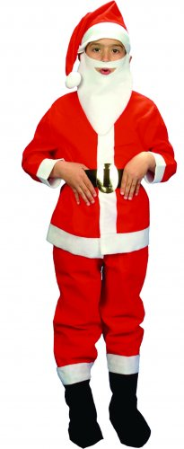 Disfraz de Papá Noel infantil con barba 9-11 años, talla 4