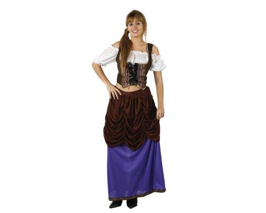 Disfraz de sirvienta marrón lila, adulto