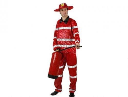 Disfraz de bombero rojo, adulto