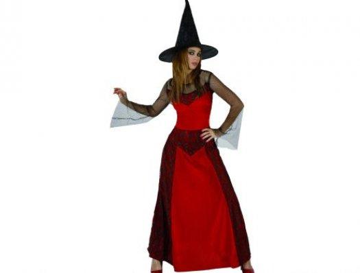 Disfraz de bruja roja transparencia adulto xs