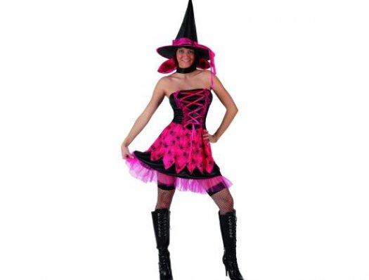 Disfraz de bruja rosa arañas adulto xs