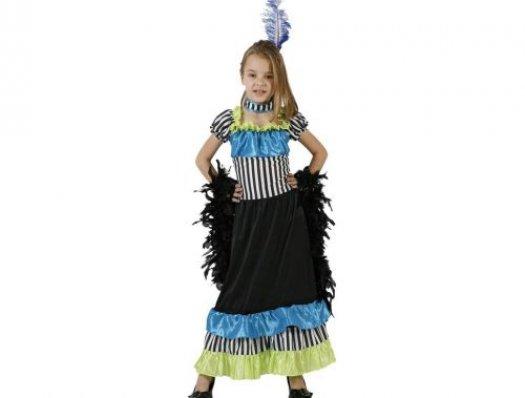 Disfraz de cabaretera rayas, 3-4 años