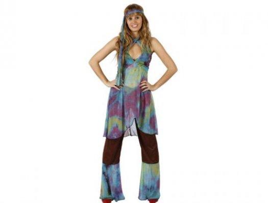 Disfraz de chica hippie marrón, adulto