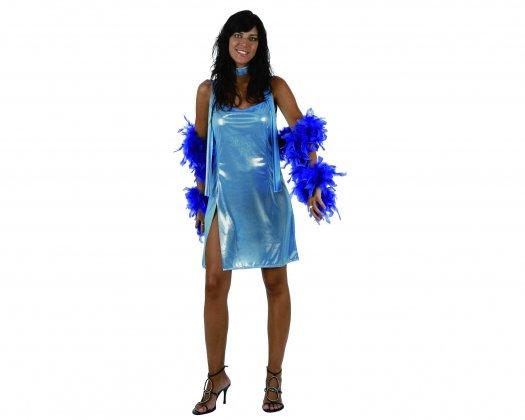 Disfraz de disco woman azul brillo, adulto