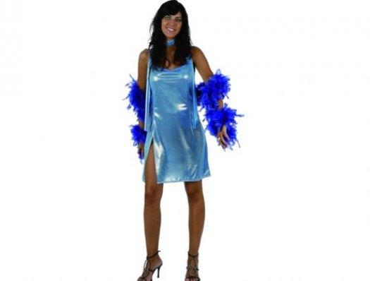 Disfraz de disco woman azul brillo, mujer xxl