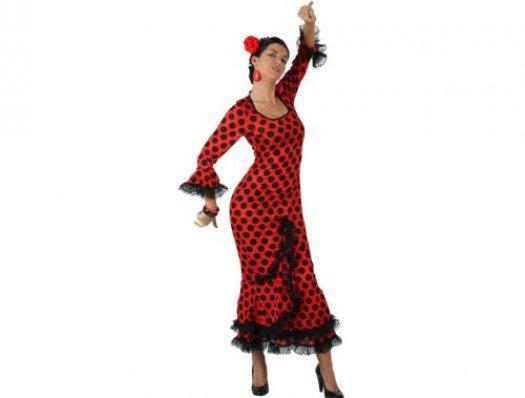Disfraz de faralae rojo lunar negro mujer