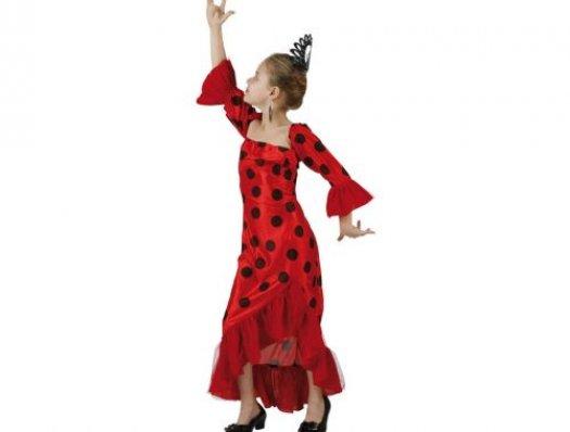 Disfraz de flamenca rojo, Talla 2 (5 – 6 años)