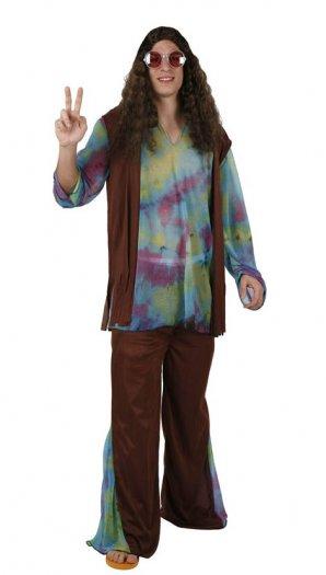 Disfraz de hippie marrón, adulto