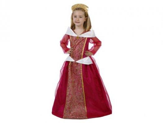 Disfraz de dama medieval rojo oro Talla 3 (7 – 9 años)