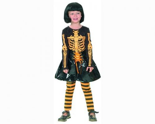 Disfraz de niÑa esqueleto naranja 7-9aÑos