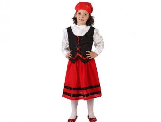 Disfraz de pastora rojo y negro ni�a 5-6 a�os