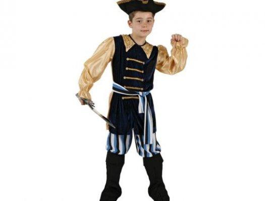 Disfraz de pirata azul rayas niño, Talla 2 (5 – 6 años)