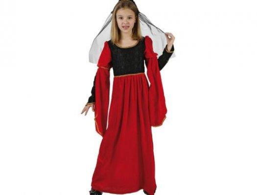 Disfraz de princesa medieval rojo, Talla 1 (3 – 4 años)