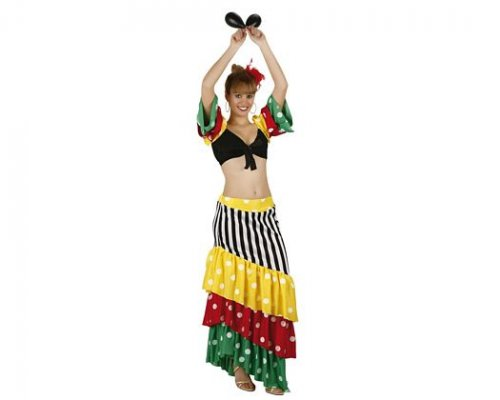 Disfraz de rumbera multicolor, adulto 13,67 €. tiendadedisfraces.