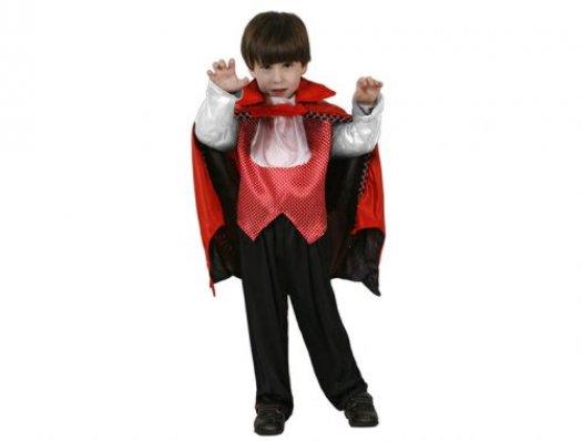 Disfraz de vampiro rojo negro, 3-4 años