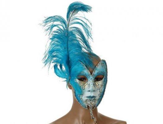 Máscara veneciana pluma turquesa 19x15cm