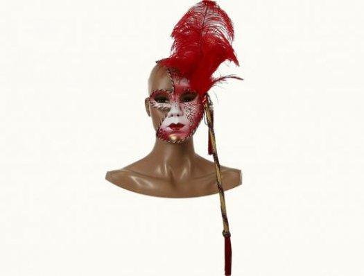 Máscara veneciana roja 23x16cm