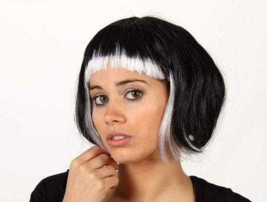 Pvc peluca corta flequillo blanca negra