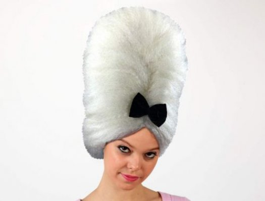 Pvc peluca mujer de epoca blanca lazo