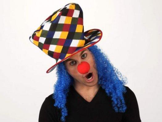 Sombrero copa payaso pelo azul