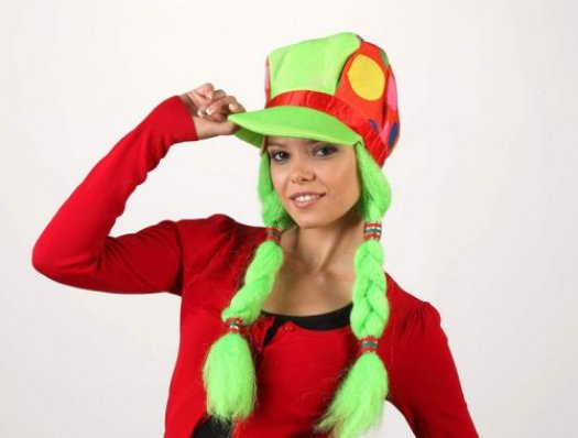Sombrero payaso trenzas verdes