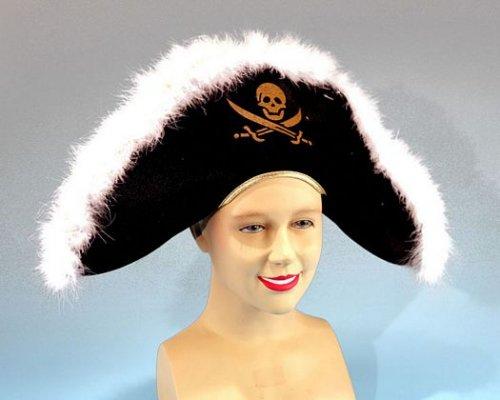 Sombrero pirata plumas y calavera