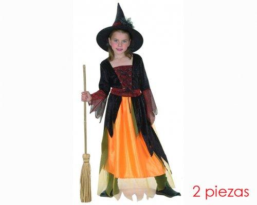 Disfraz de Brujita naranja 7-9 años