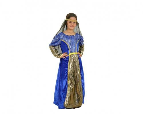 Disfraz niña medieval azul 4-6 años