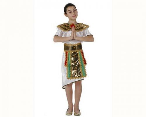 Disfraz de egipcia blanco verde,3-4