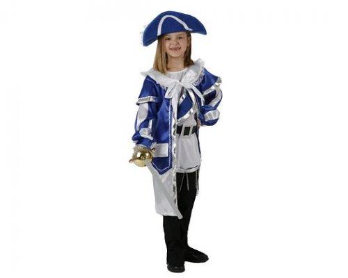 Disfraz de mosquetera azul, 7-9 años