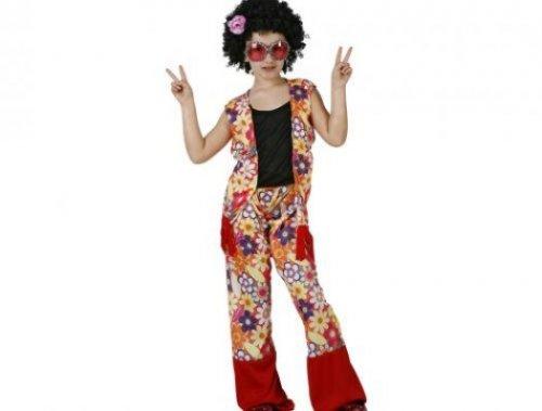 Disfraz de hippie niña flores, 5-6 años