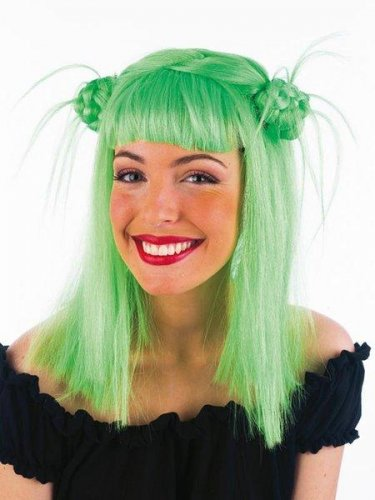 accesorio peluca nudos verde
