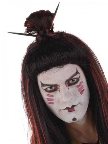 accesorio peluca samurai larga