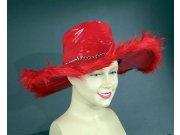 comprar Sombrero ala ancha rojo pluma cadena